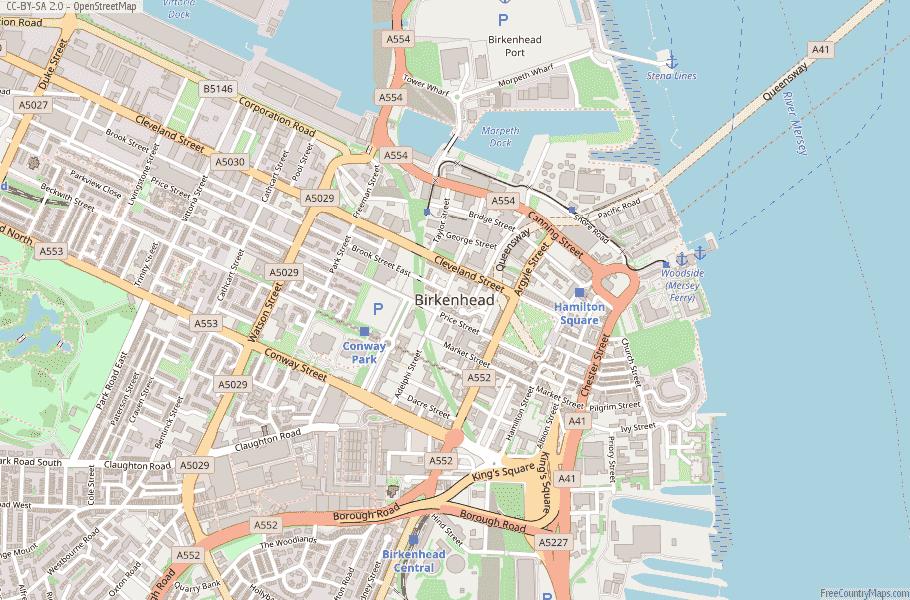 Birkenhead Map Great Britain Latitude & Longitude: Free ...