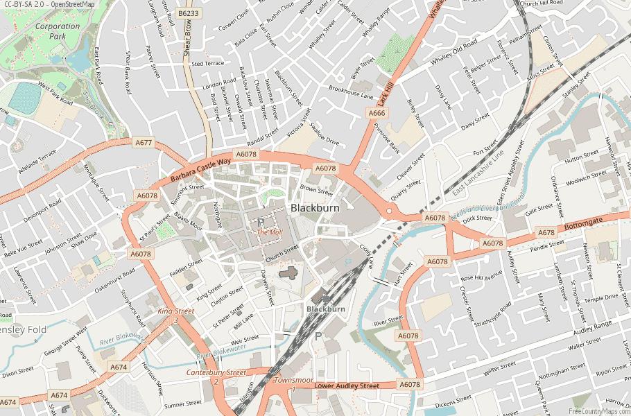 Blackburn England Map