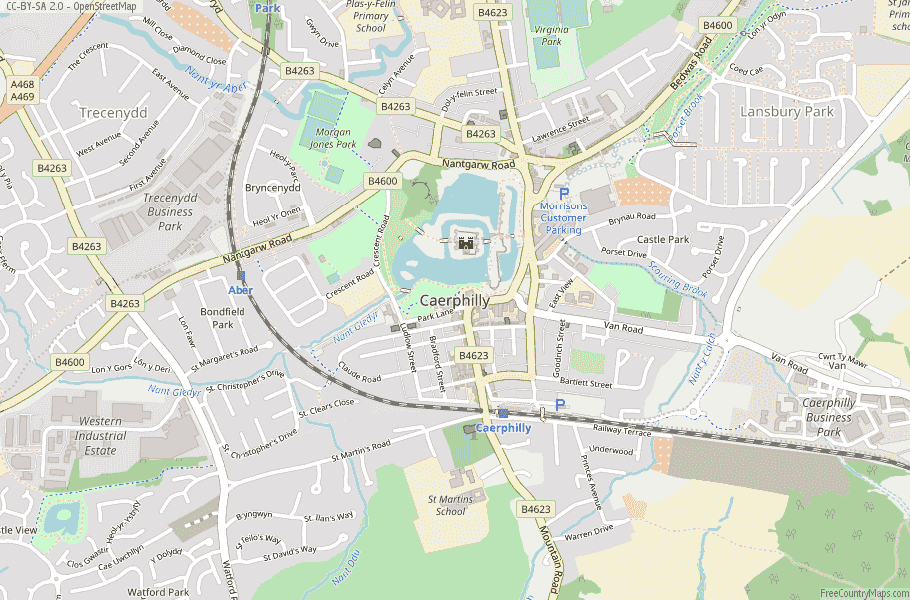 Caerphilly Wales Map