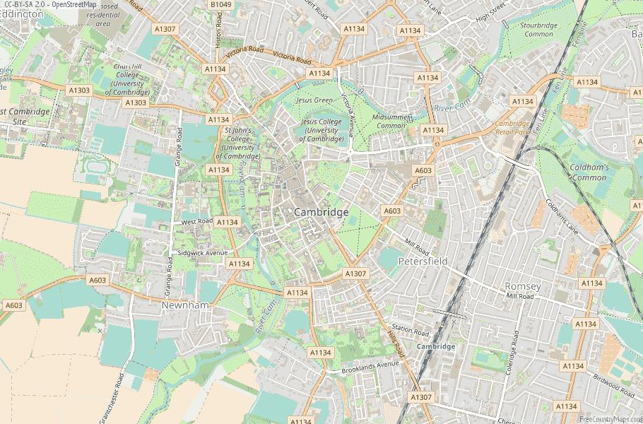 Cambridge England Map