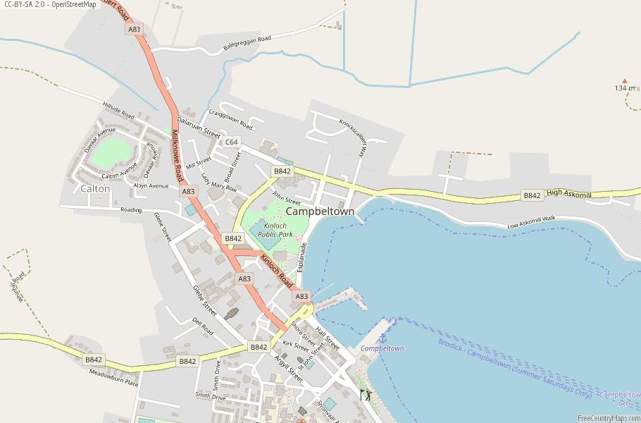 Campbeltown Scotland Map.Campbeltown Map Great Britain Latitude Longitude Free Scotland Maps