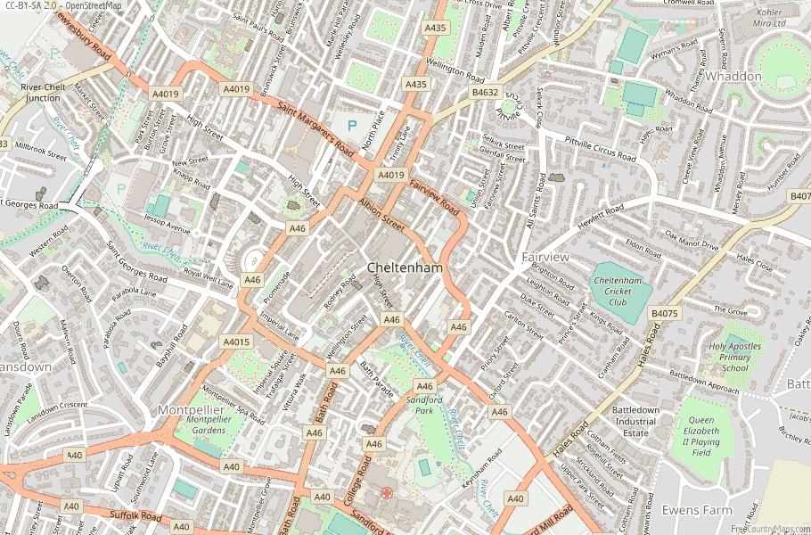 Cheltenham England Map