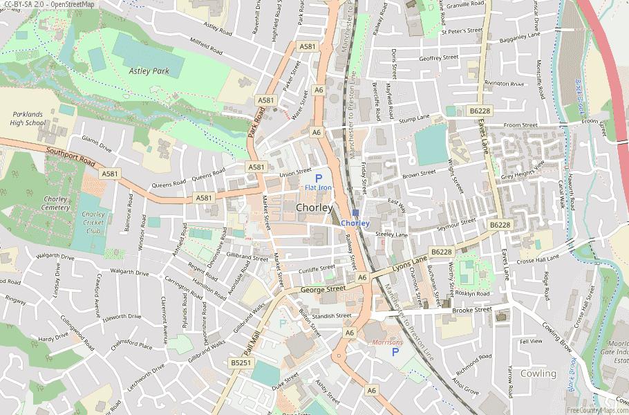 Chorley Map Great Britain Latitude Longitude Free England Maps