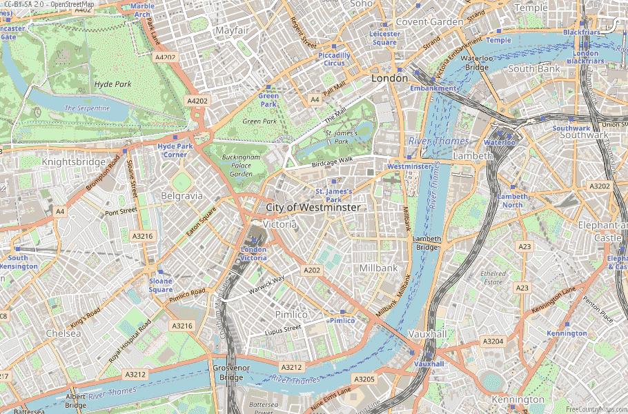 City of Westminster England Map
