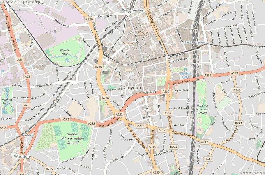 Croydon England Map