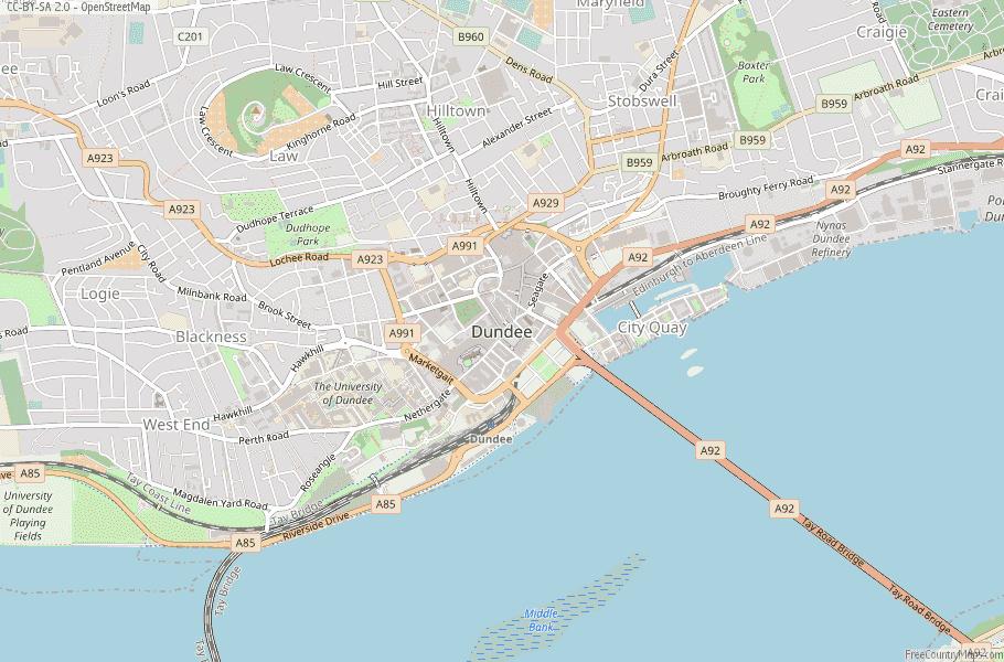 Dundee Scotland Map
