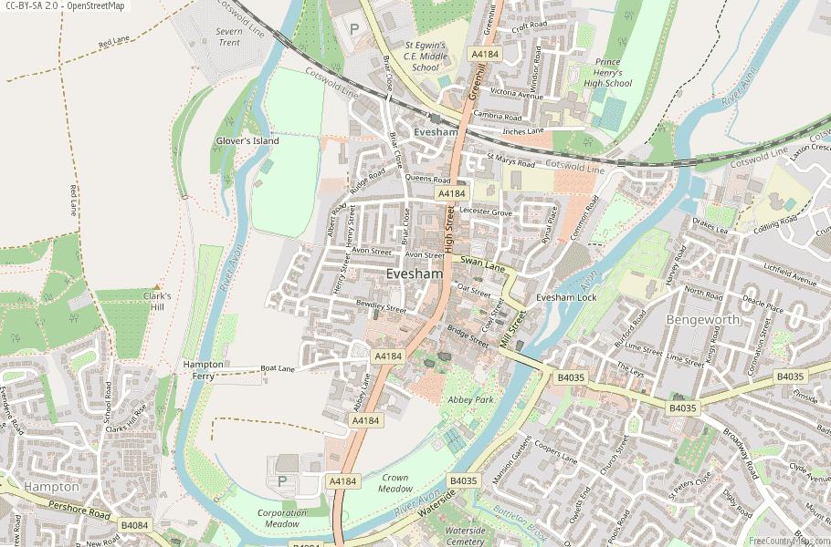 Evesham England Map