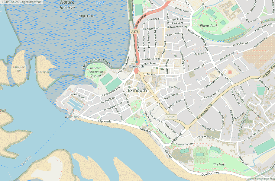 Exmouth England Map