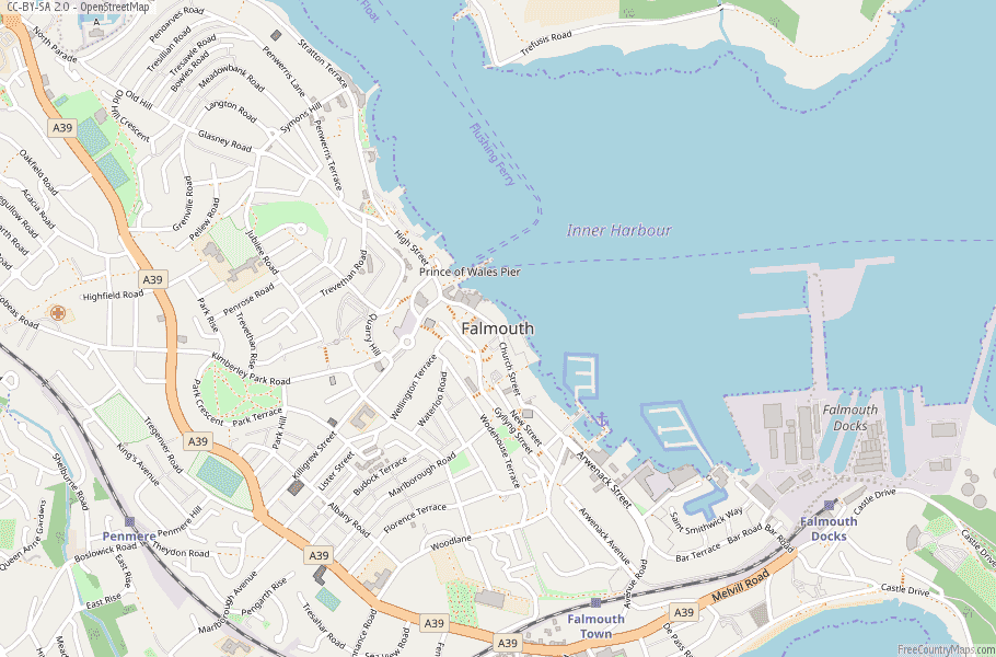 Falmouth England Map