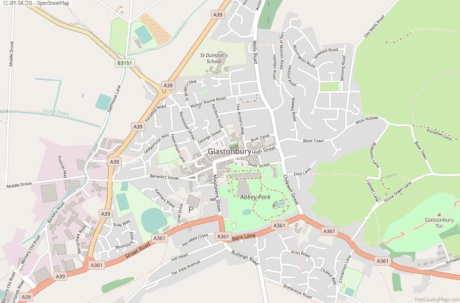 Glastonbury Map Great Britain Latitude Longitude Free England Maps
