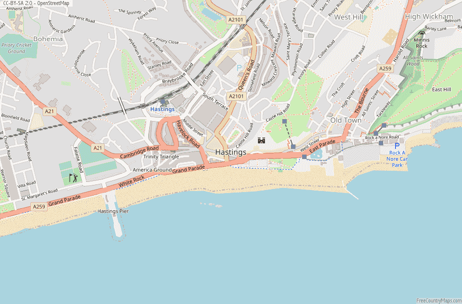 Hastings England Map