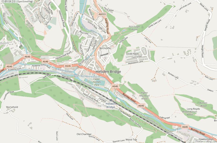 Hebden Bridge Map Great Britain Latitude & Longitude: Free England Maps