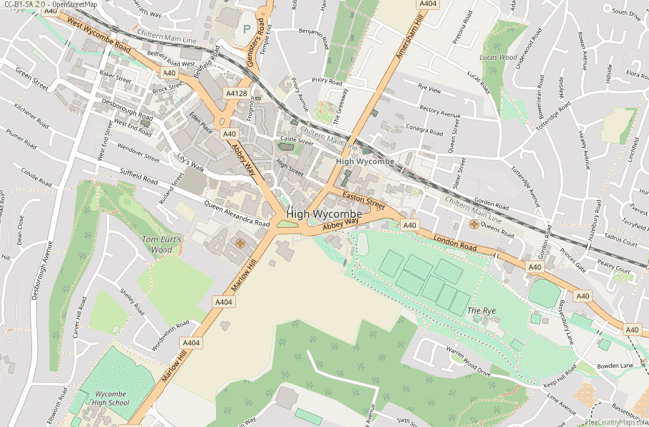High Wycombe England Map