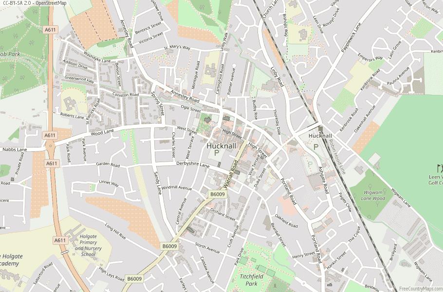Hucknall England Map