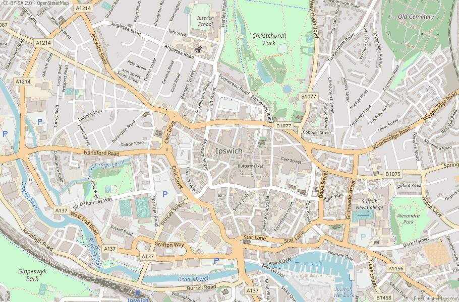 Ipswich England Map