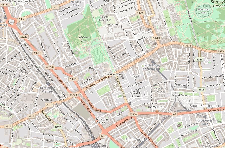 Kensington England Map