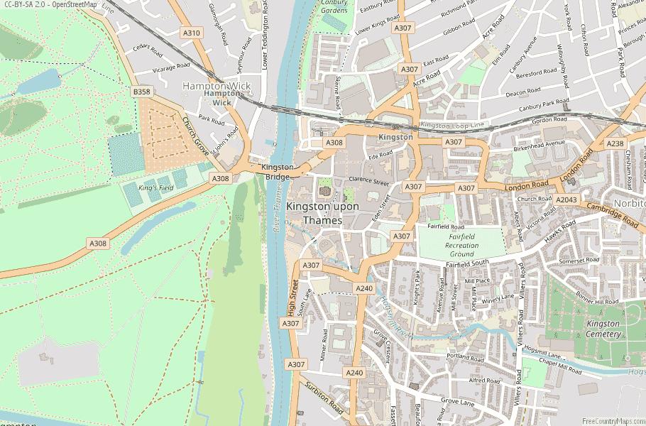 Kingston upon Thames England Map