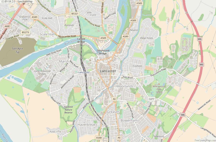 Map Of England Lancaster.Lancaster Map Great Britain Latitude Longitude Free England Maps