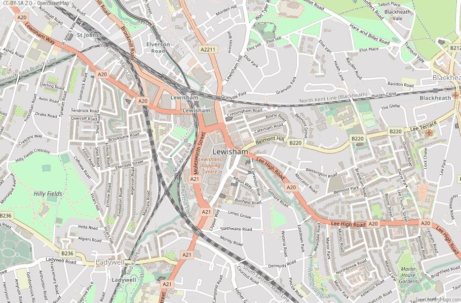 Lewisham England Map