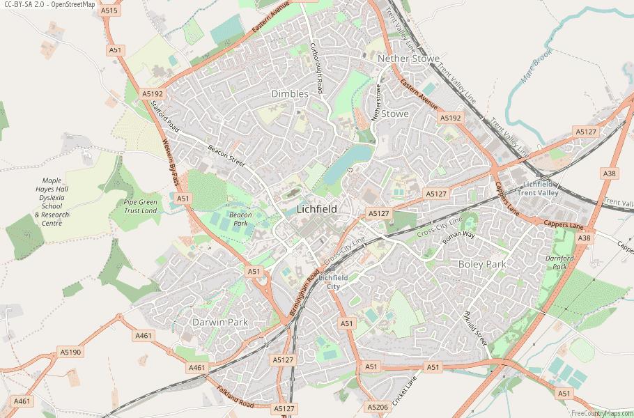 Lichfield England Map