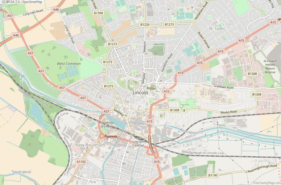 Lincoln England Map