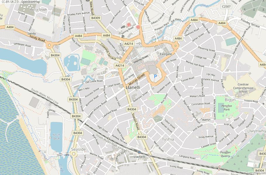 Llanelli Wales Map