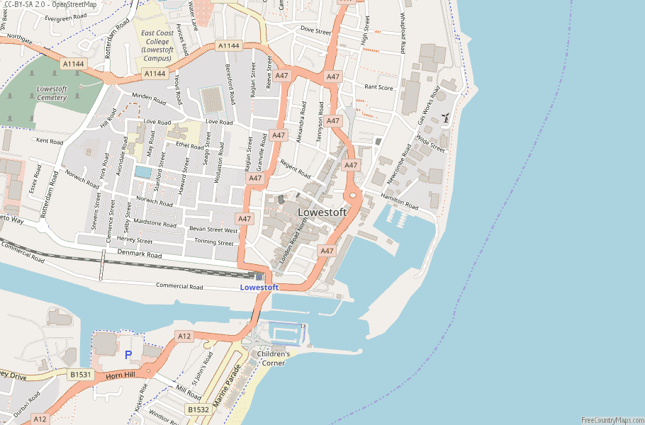 Lowestoft England Map