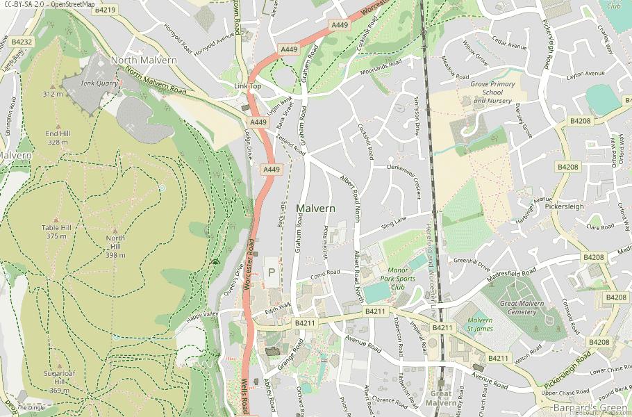 Malvern England Map