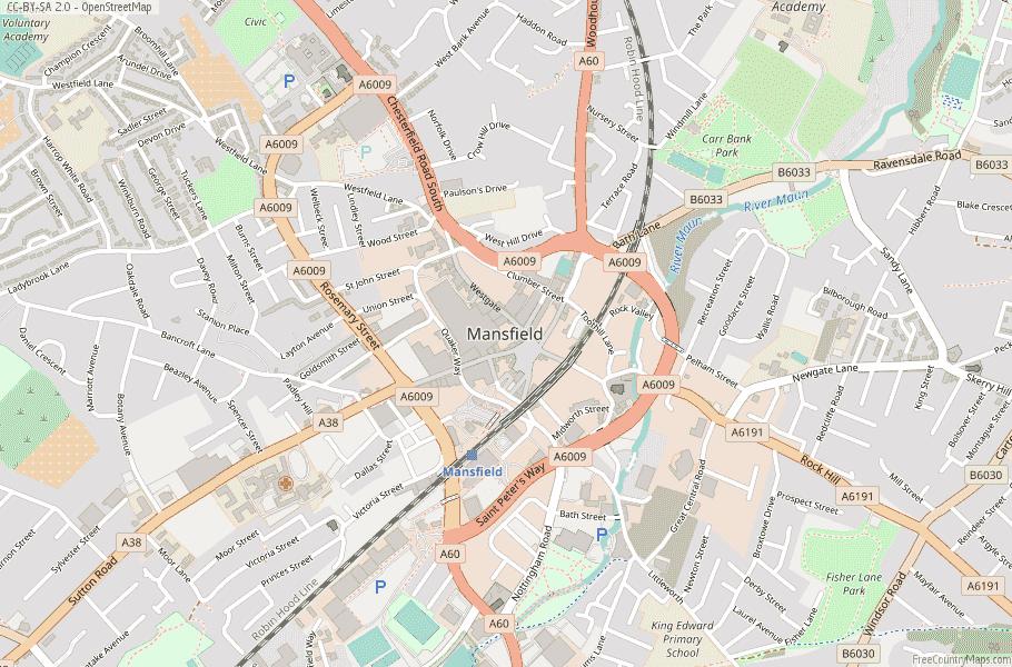 Mansfield England Map
