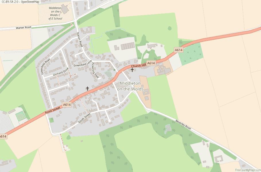 Middleton on the Wolds Map Great Britain Latitude & Longitude: Free ...