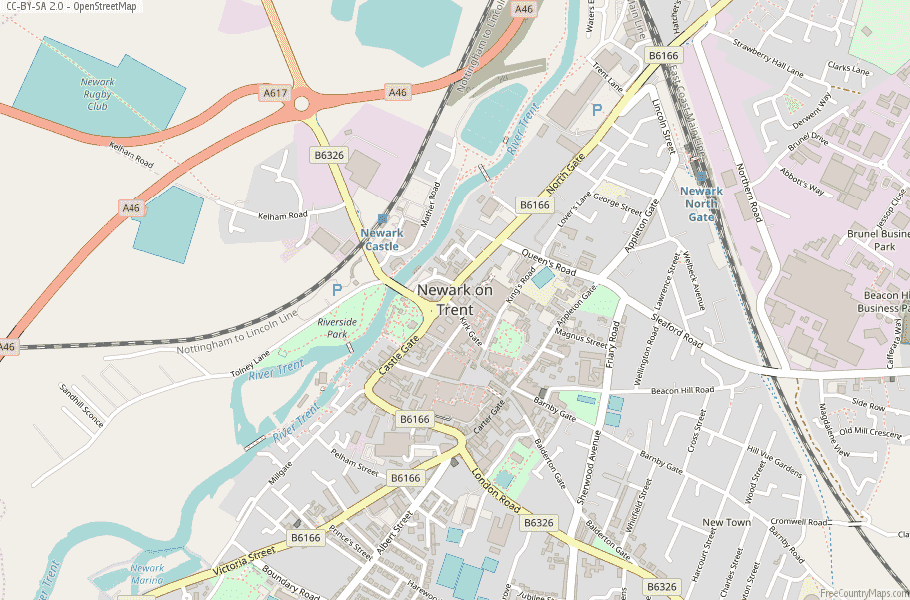 Newark on Trent England Map