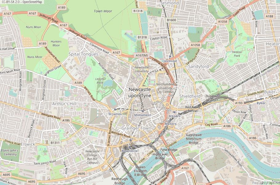 Newcastle upon Tyne England Map