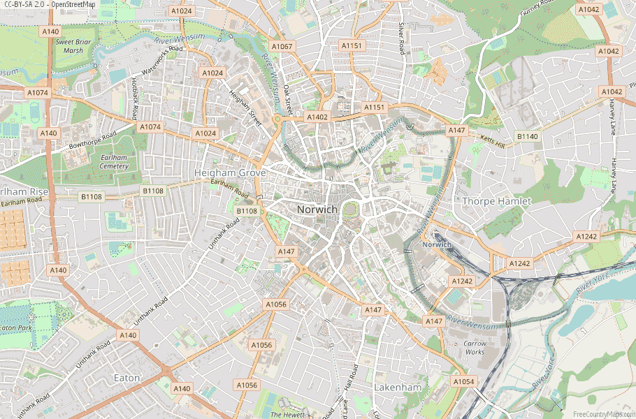 Norwich England Map