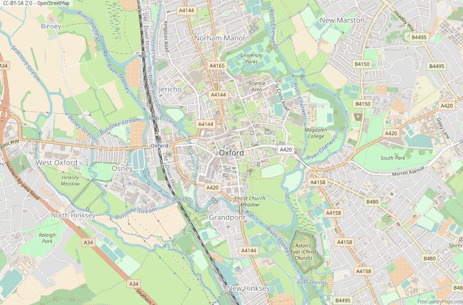 Oxford England Map