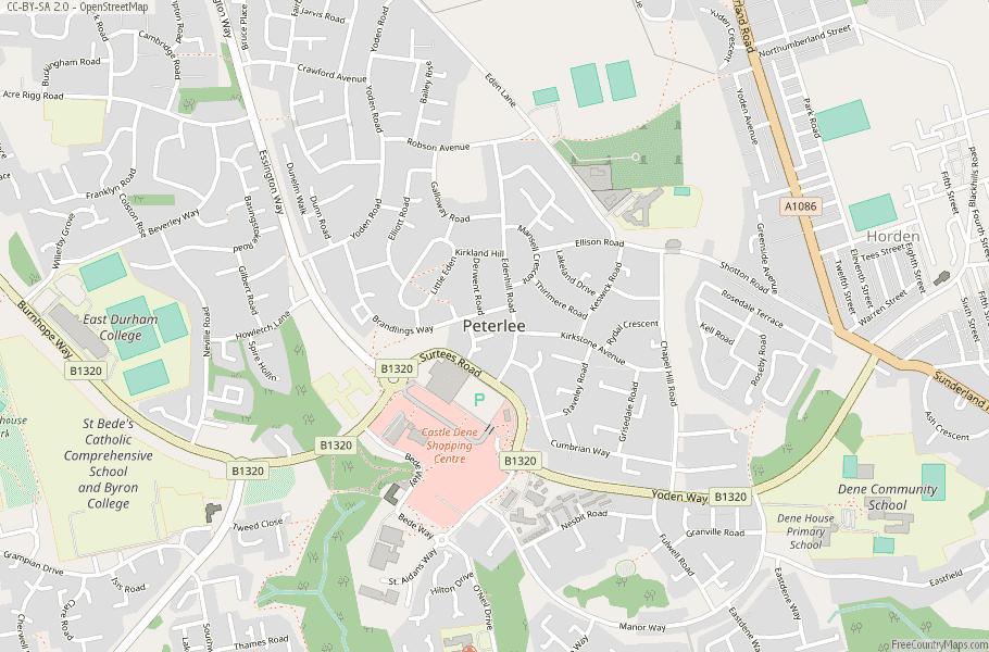 Peterlee England Map