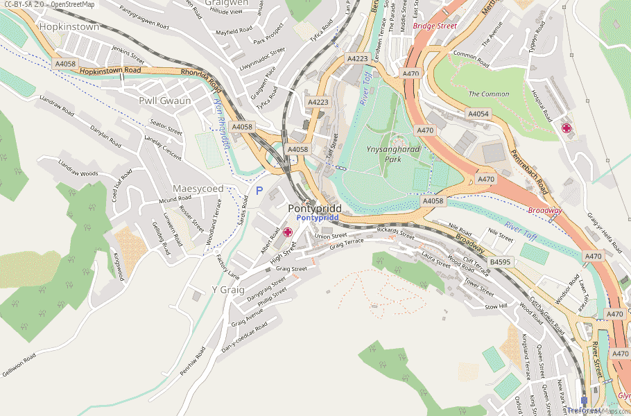 Pontypridd Wales Map