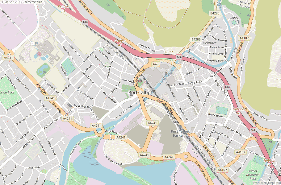 Port Talbot Wales Map