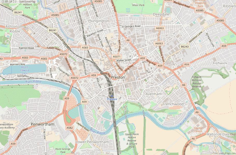 Preston England Map