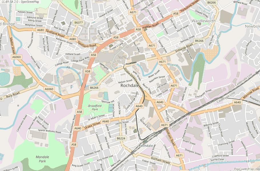 Rochdale England Map
