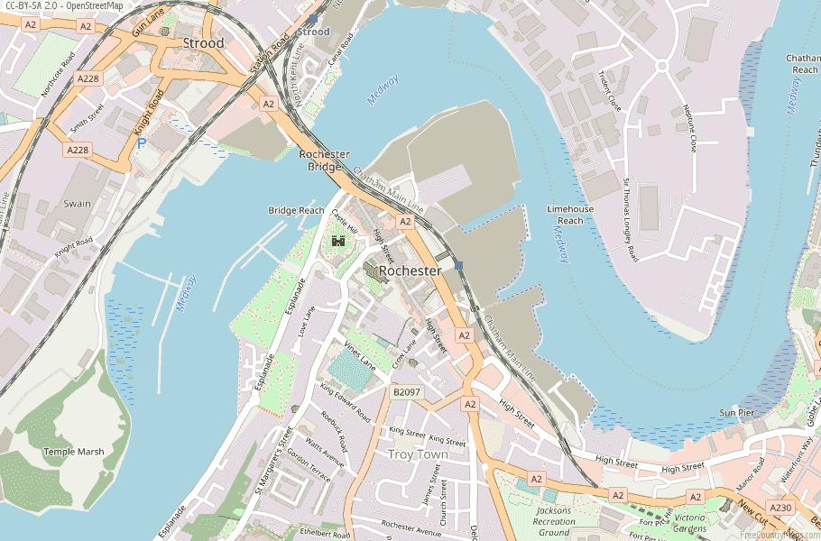 Rochester Map Great Britain Latitude & Longitude: Free