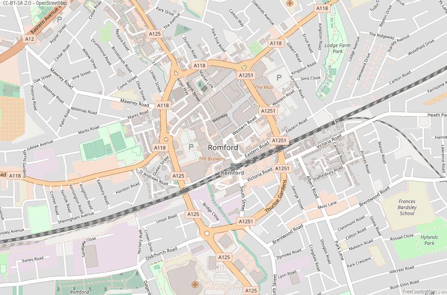 Romford England Map