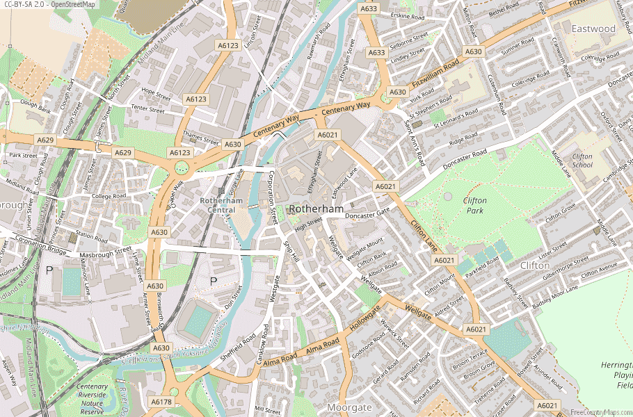 Rotherham England Map