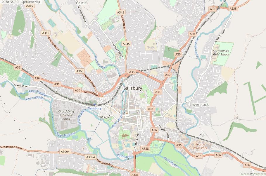Salisbury Map Great Britain Latitude Longitude Free England Maps