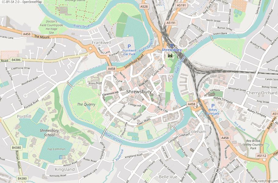 Shrewsbury England Map