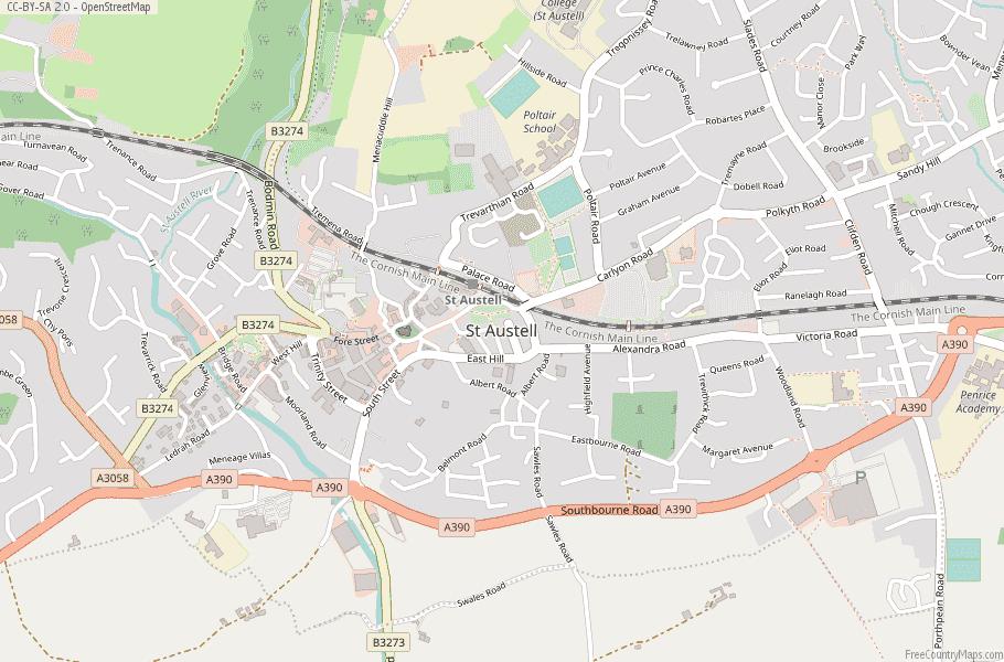 St Austell England Map
