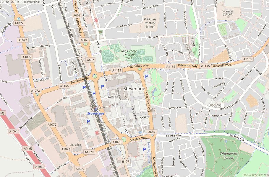 Stevenage England Map