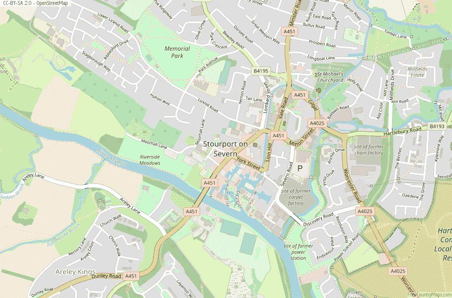 Stourport on Severn England Map
