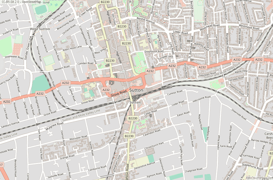 Sutton England Map