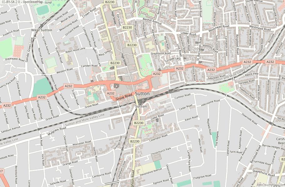 Sutton England Map