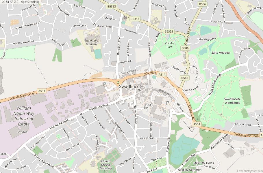 Swadlincote England Map